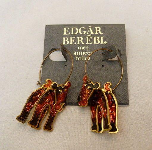 Vintage 1991 Edgar Berebi Enamel Lion Tiger Fantasy Cat Mobile Earrings Made Usa