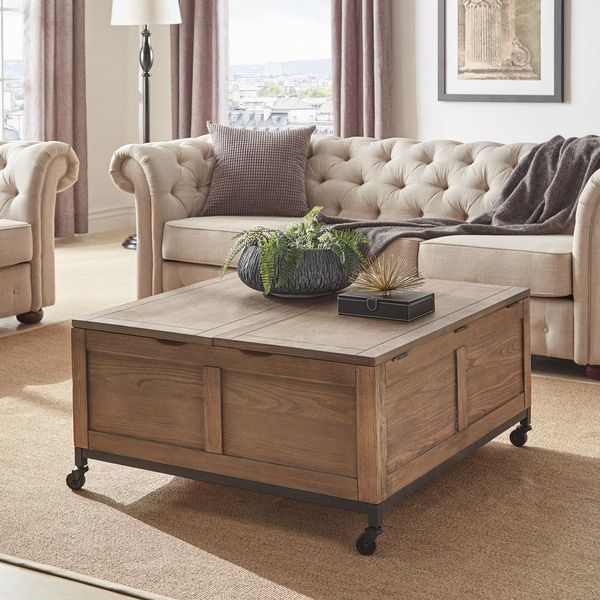 Shay Square Storage Trunk Cocktail Table with Caster Wheels by iNSPIRE Q Artisan - 54 x 84 ...