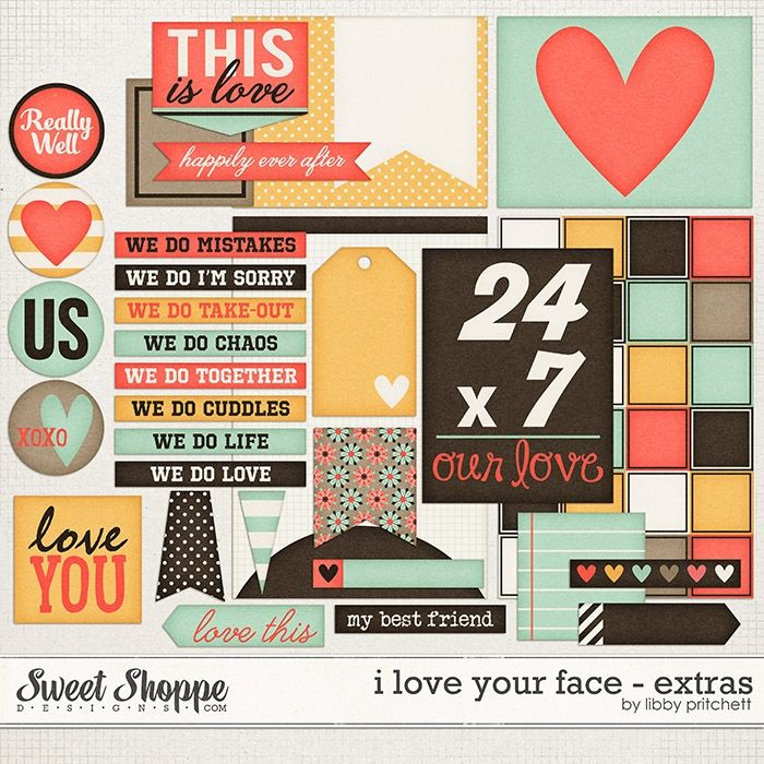 digital scrapbooking printables -  I Love Your Face Extras by Libby Pritchett