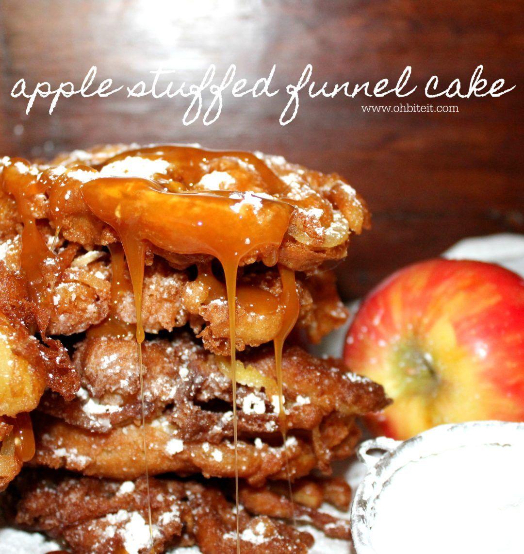 Apple stuffed funnel cake oh bite it funnel cake