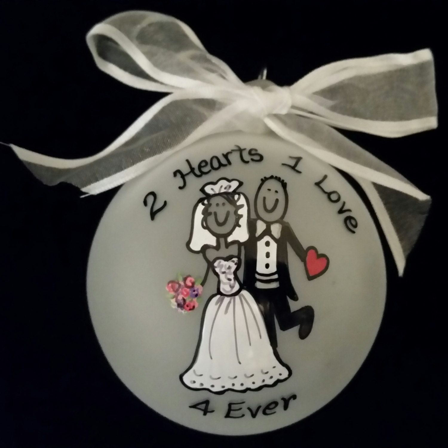 2 Hearts 1 Love Wedding Gift Personalized Ornament Christmas Favor