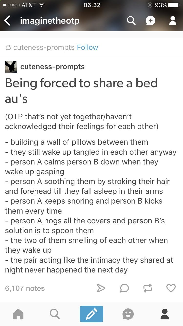 Being forced to share a bed--> I told you It was a long hug