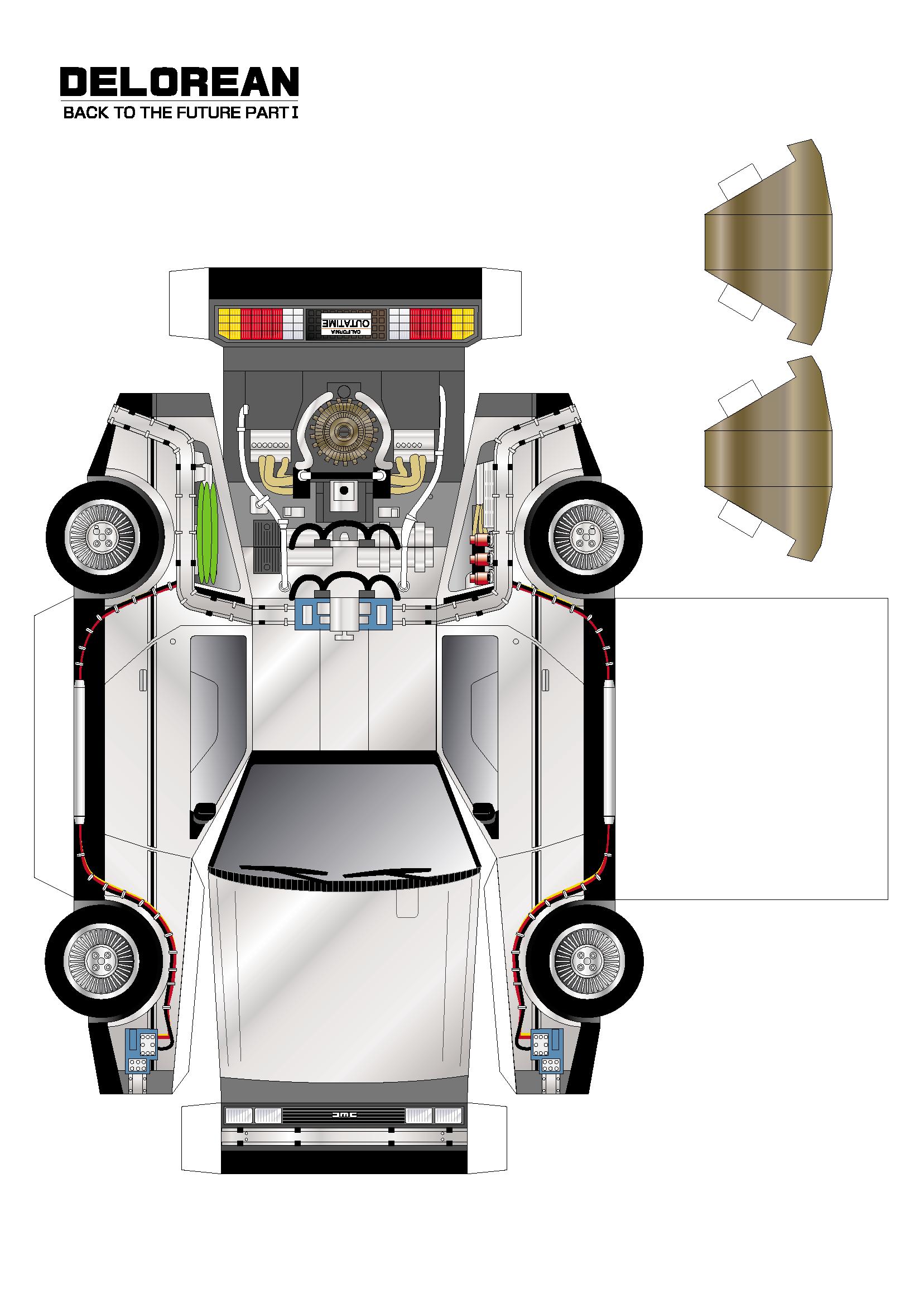 Back To The Future Delorean Paper Model Car