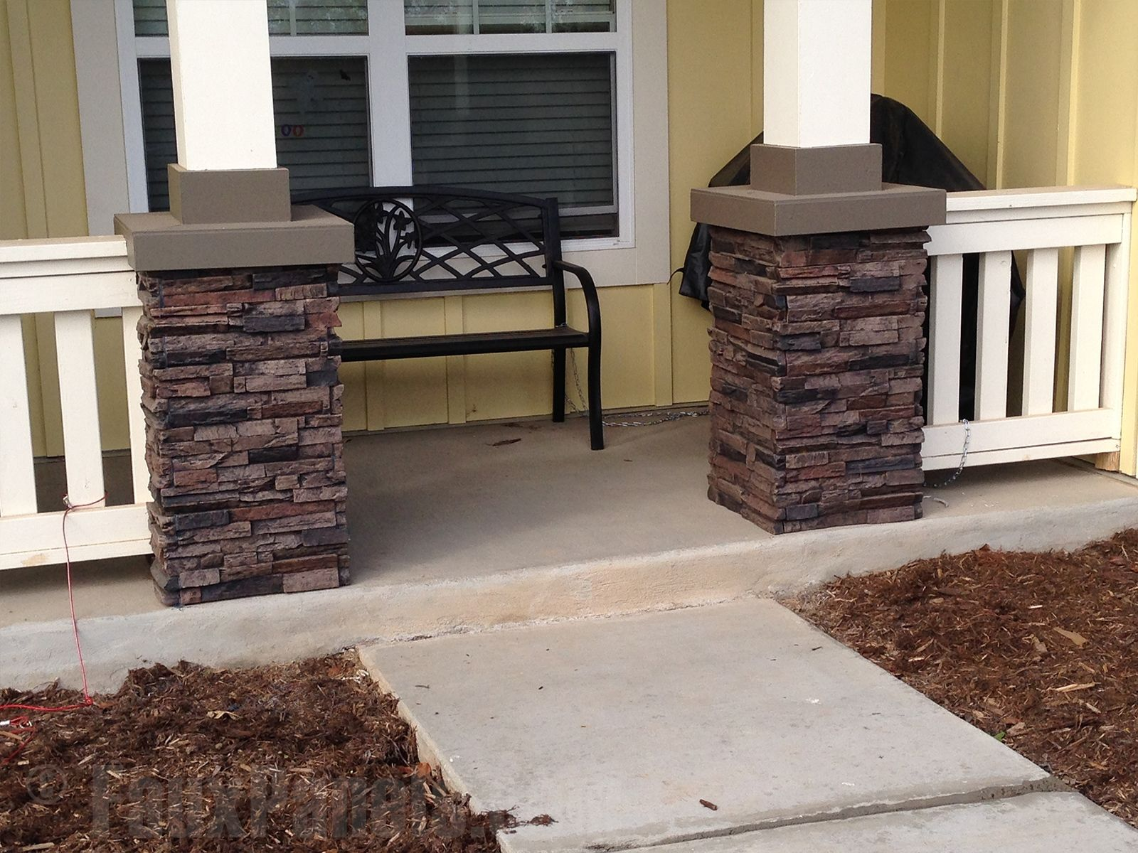 Ideas Stacked Stone Porch Posts Stacked Stone Porch Posts Faux