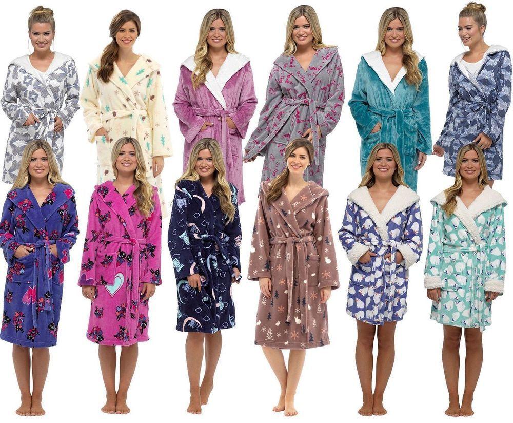 4e0215e553 Luxury Short Hooded or Full Length Fleece Bath Robe Dressing Gown Girls  Ladies  fashion