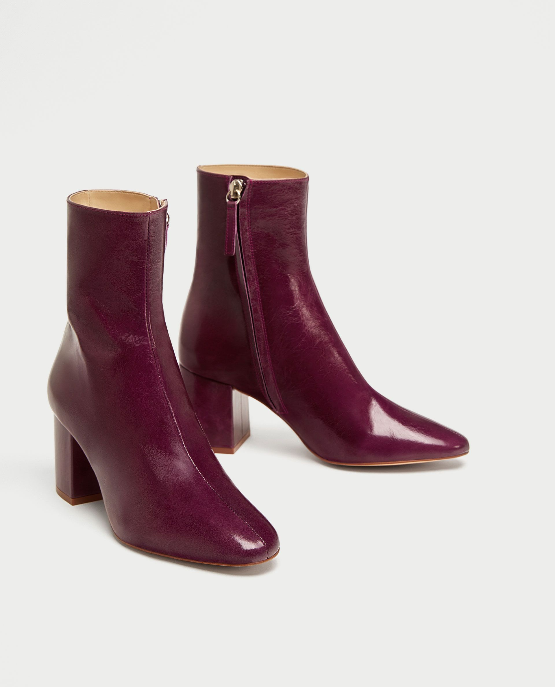 96f11c110 ZARA - WOMAN - LEATHER ANKLE BOOTS WITH BLOCK HEEL