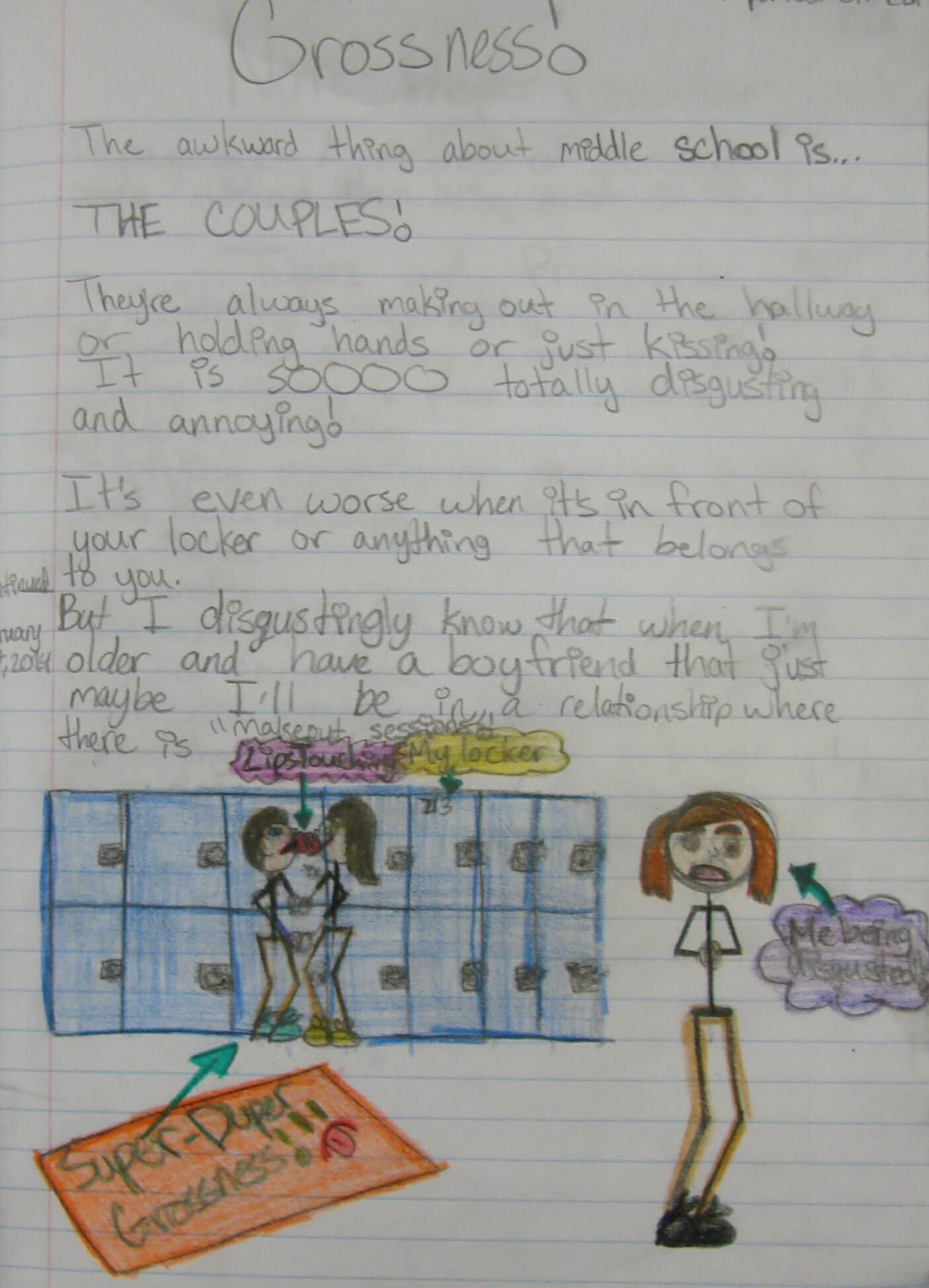 "I'm awarding a ""Mr. Stick of the Week's 'Best Decorated Notebook Page' Award"" to 6th grader Susy, who is tired of watching 8th graders kiss in the hallways at our middle school. Check out my online writer's notebook resources here: http://corbettharrison.com/writers_notebooks.html"