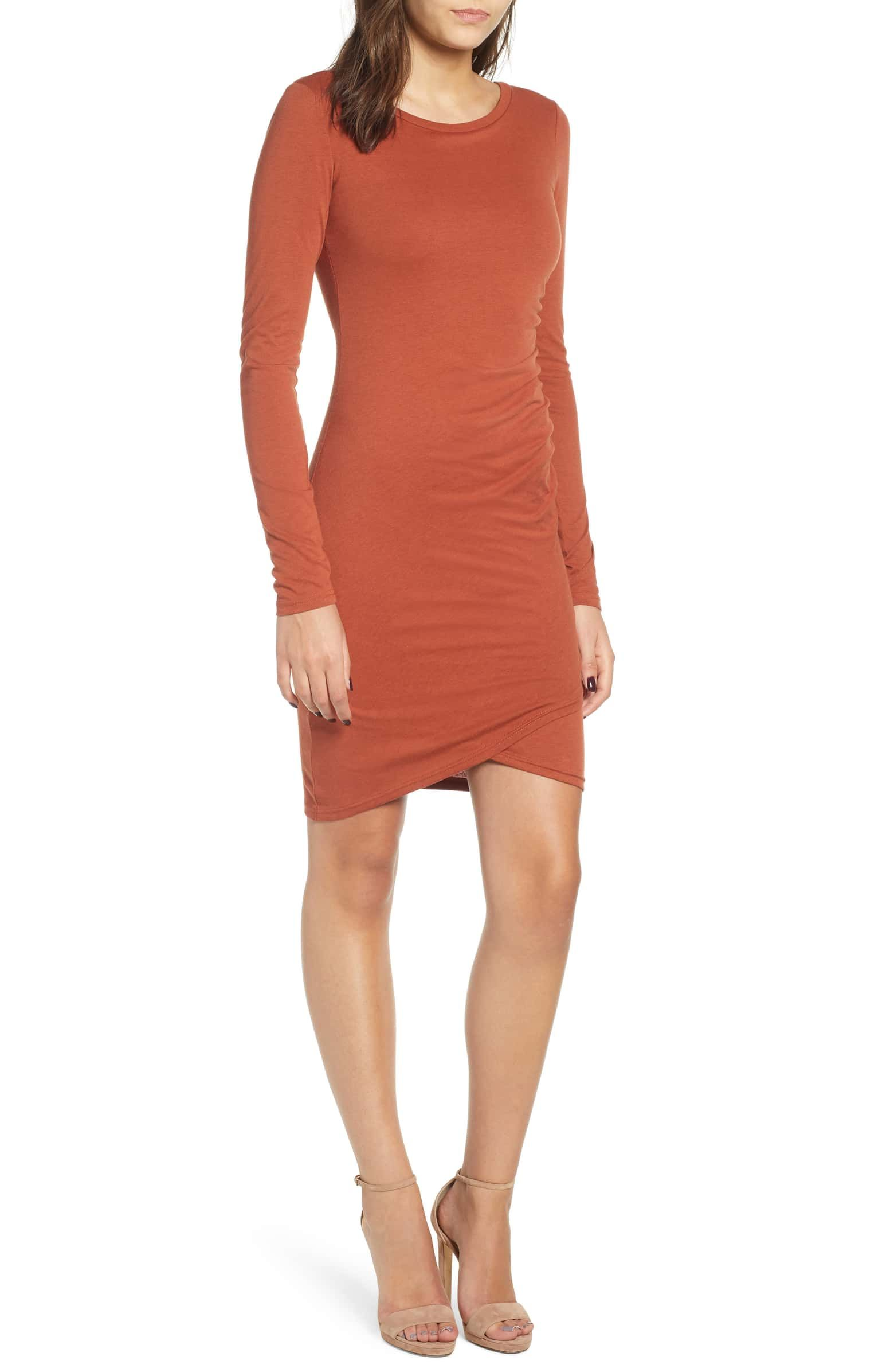 890c040c89 Nordstrom: Leith Ruched Long Sleeve Dress - Color: Brown Spice - Size: Small