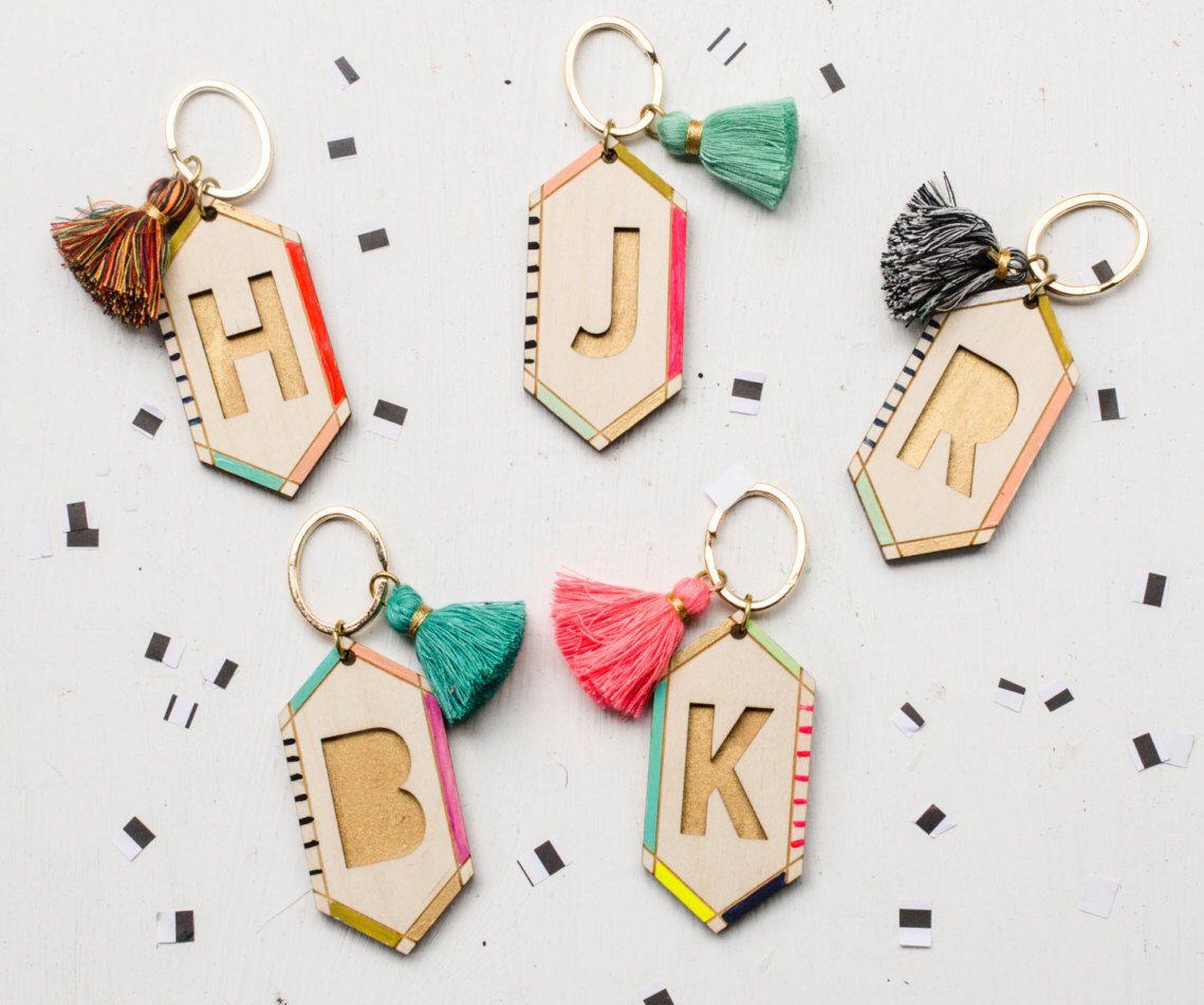 Handpainted wooden initial keychain, tassel keychain by JillMakes on Etsy https://www.etsy.com/listing/467061919/handpainted-wooden-initial-keychain
