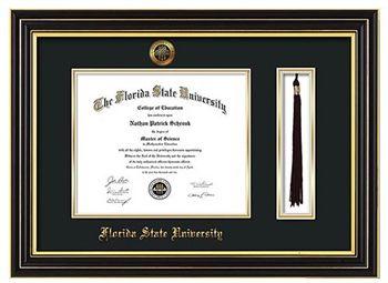 florida state university diploma frame this black satin fsu diploma frame comes with tassel holder - Diploma Frames With Tassel Holder