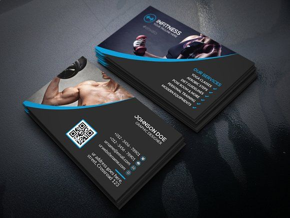 Fitness Business Card Templates Features Round Square Corner