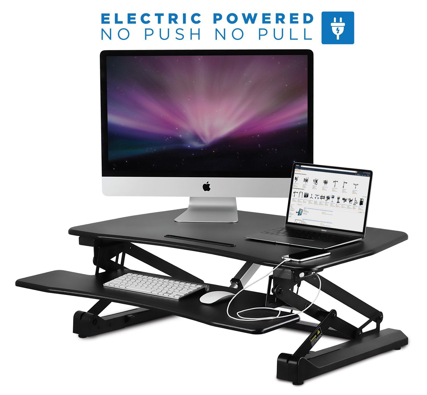 with fit keyboard monitors stand one workstation height tablet to dual converter and spring gas tray retractable desk tabletop inches sit adjustable riser standing large elitech detail