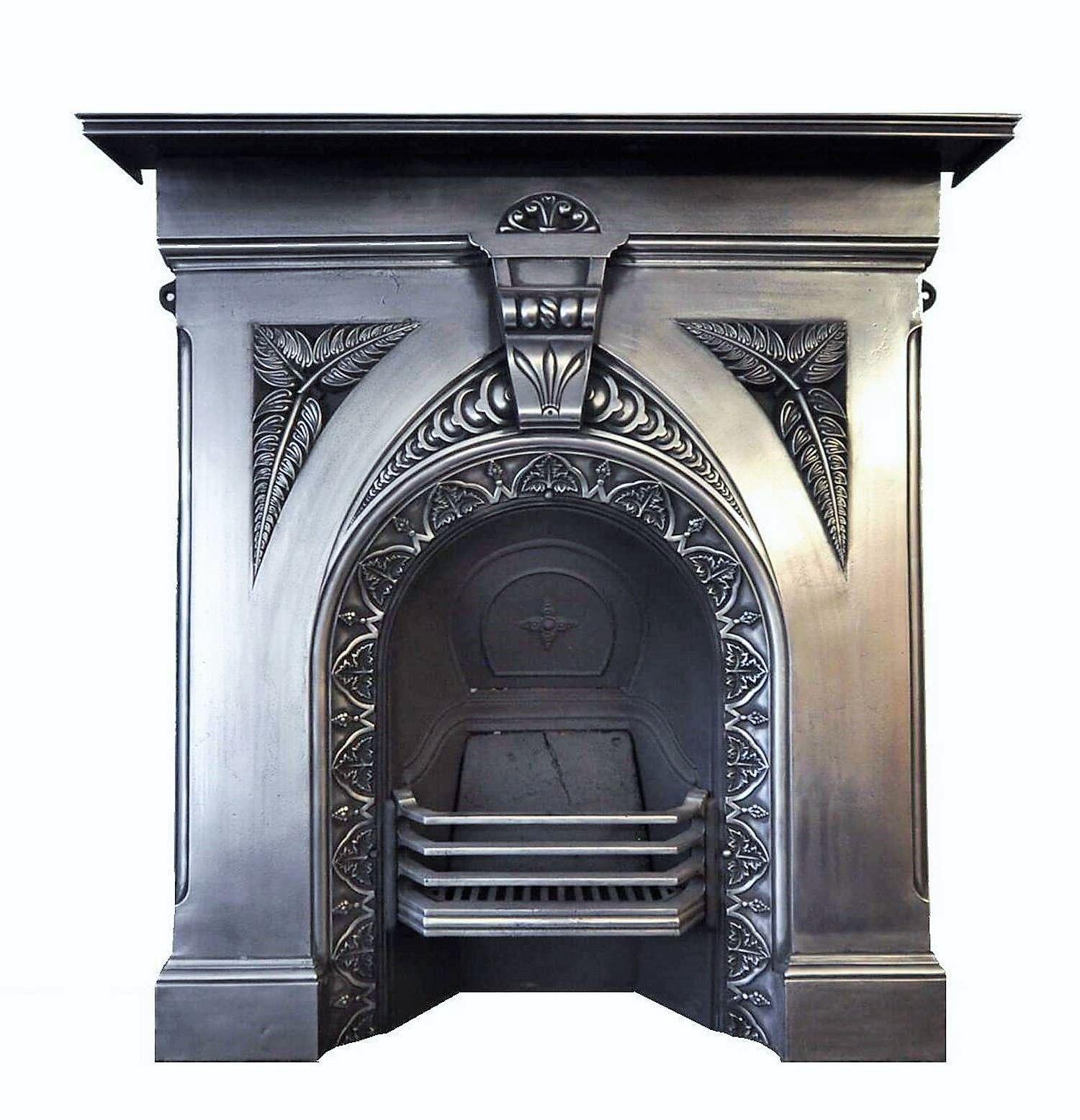 Original Victorian Fern Cast Iron Restored Fireplace Which Has