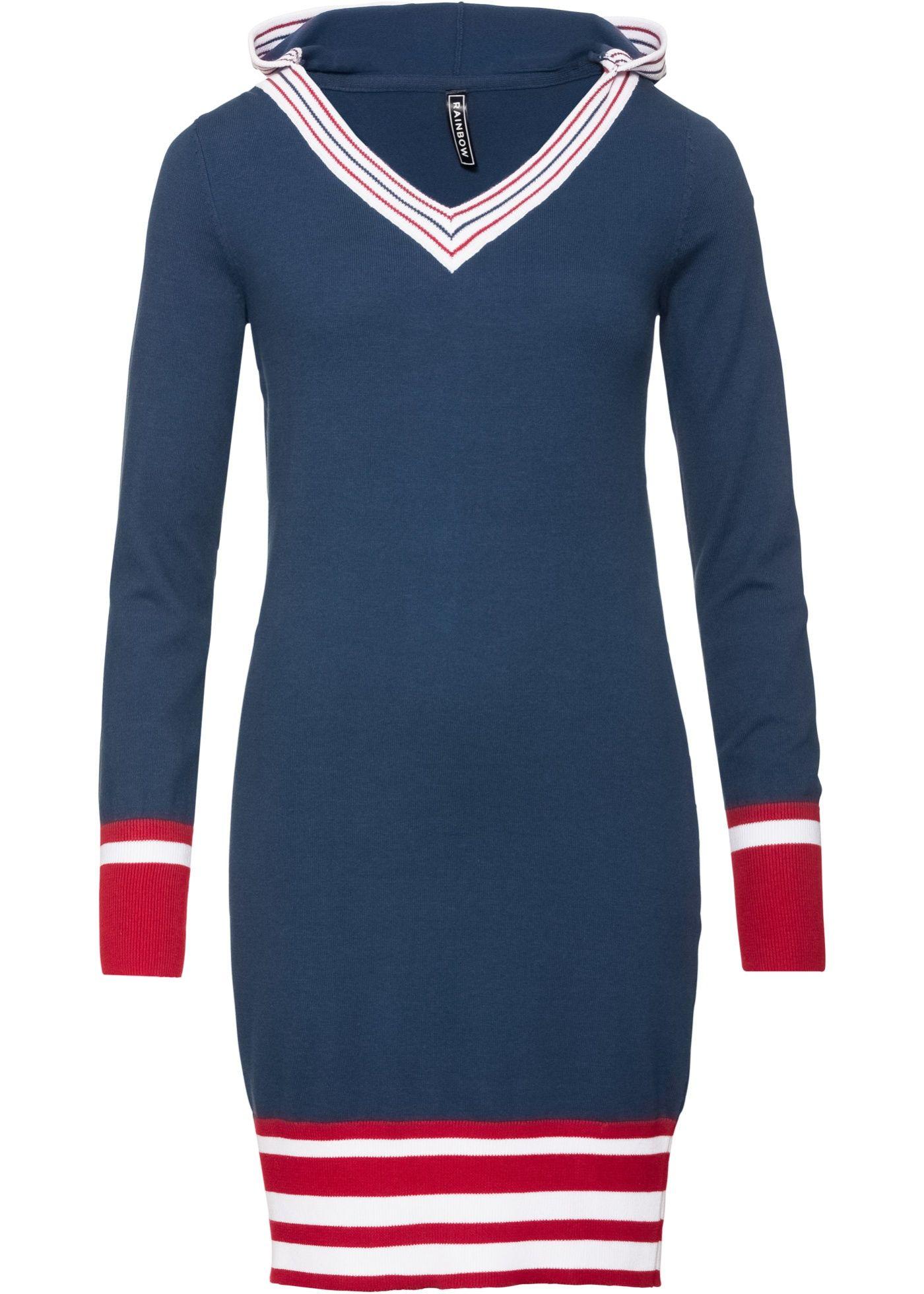 38bf333e7edd Pletené šaty hlubinně modro-sytě červeno-bílá - koupit online - bonprix.cz  S hlubokým výstřihem do V