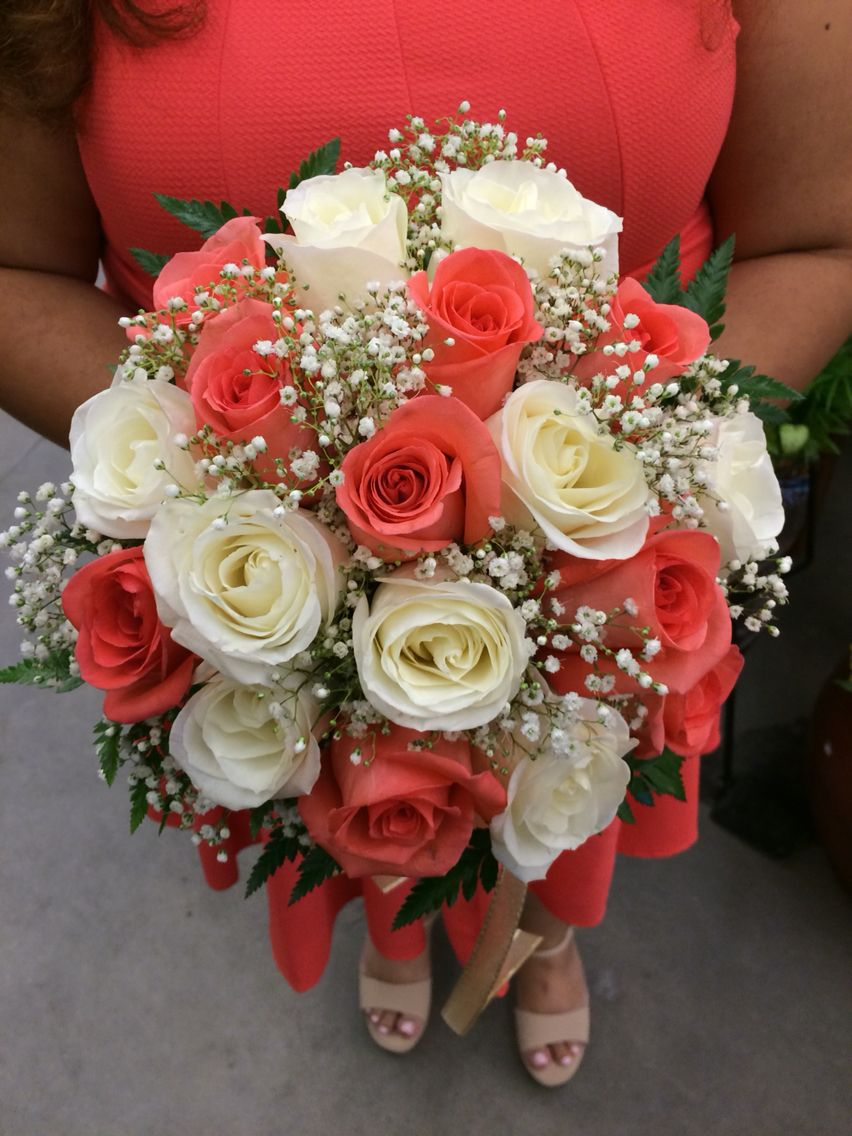 Truloveblooms coral and white rose wedding bouquet floral