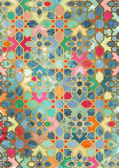 gilt glory colorful moroccan mosaic art print patterns of the world pinterest mosaik. Black Bedroom Furniture Sets. Home Design Ideas