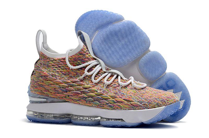 "865bc51cb59 2018 Nike LeBron 15 ""Fruity Pebbles"" White Multi-Color Shoes Hot Sale"