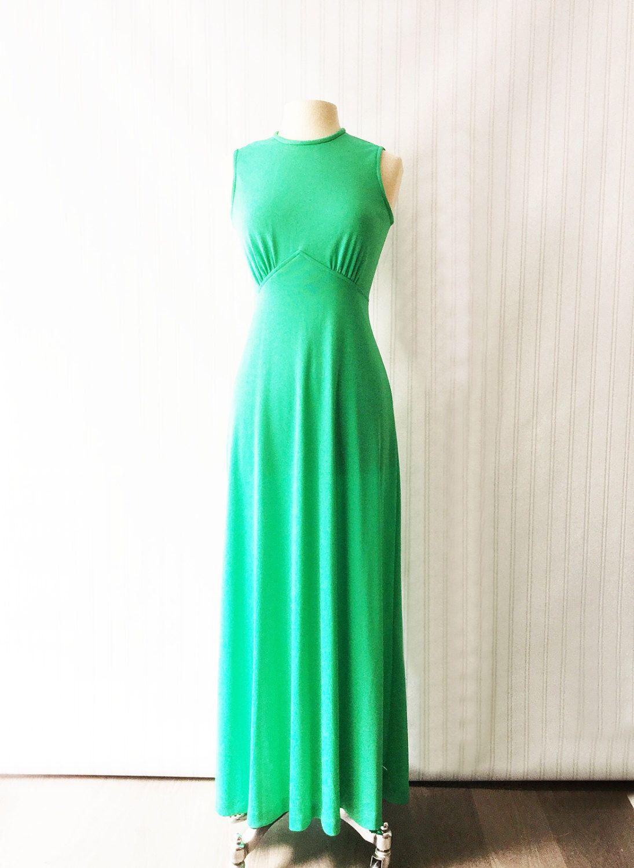 Vintage 70s Emerald Green Maxi Dress Cocktail Gown Kelly Etsy Maxi Dress Cocktail Long Party Dress Formal Maxi Dress Green [ 1500 x 1095 Pixel ]