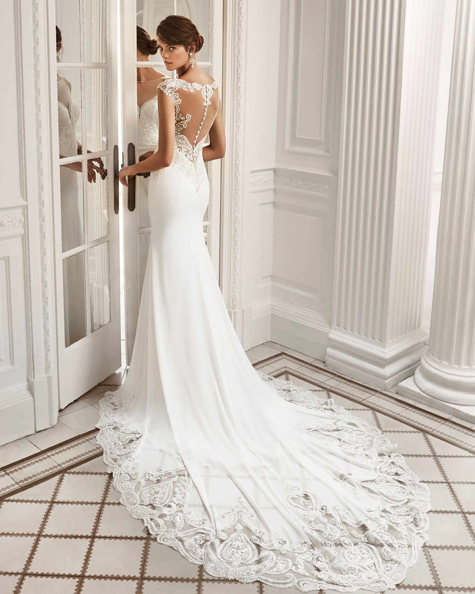 Mermaid Style Crepe Georgette And Lace Wedding Dress With Deep Plunge Neckline Low Back