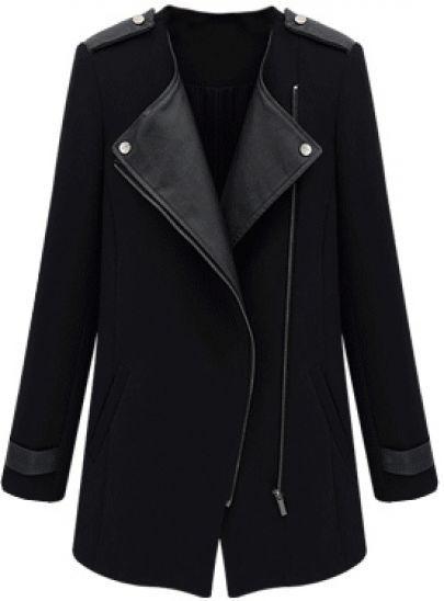 Mantel mit PU-Ledereinsätzen und schrägem Reißverschluss, schwarz pictures
