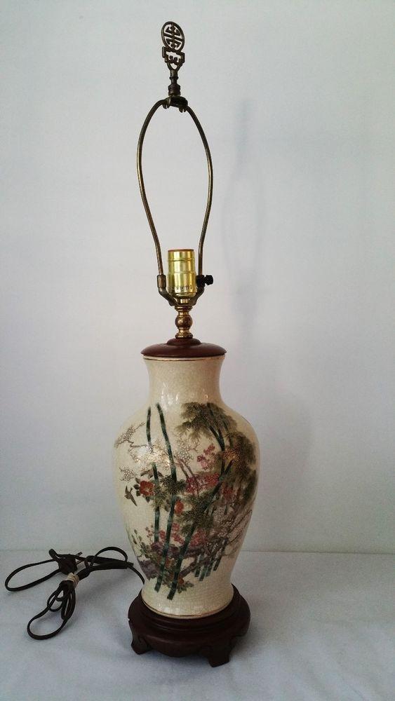 Vintage Japanese Kutani Satsuma Hand Painted Porcelain Vase Table Lamp Vase Table Lamp Lamp Vintage Table Lamp
