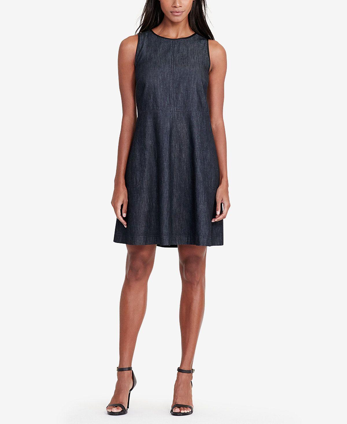 fd5b47be8b3b Lauren Ralph Lauren Faux-Leather-Trim Denim Dress - Lauren Ralph Lauren -  Women - Macy's