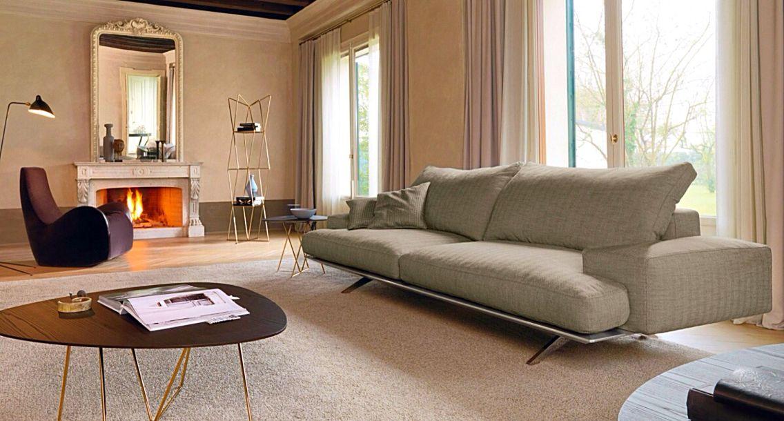 Sofá Platz tapizado en piel o tela en diferentes colores, diseño de - mesas de centro de diseo