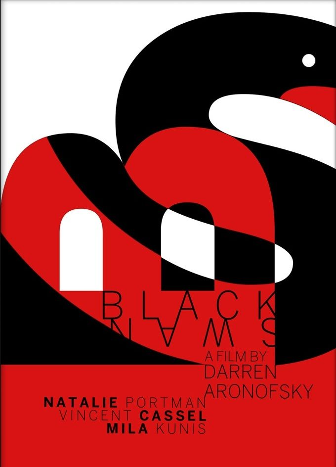 Black Swan (2010) ~ Minimal Movie Poster by Alejandro del Valle ~ Swiss Style Design #amusementphile
