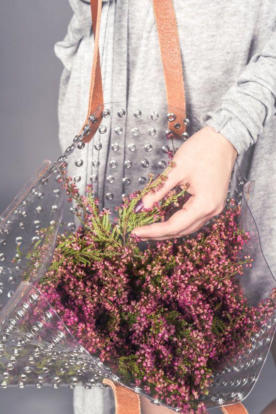Shopper transparent bag grommet bag clear handbag by YPSILONBAGS
