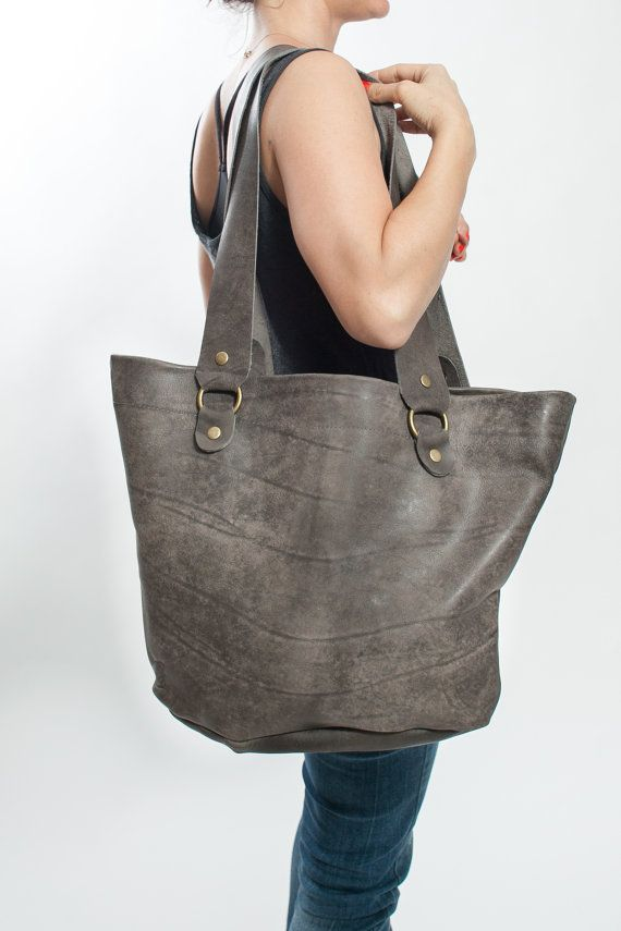 Gray Leather Womens Tote Bag Lether Side Sack A big Leather Shulder Bag So  Chic!! Soft and rough look combination. Can serve you for everyday use as  well as ... 9bc5babcb