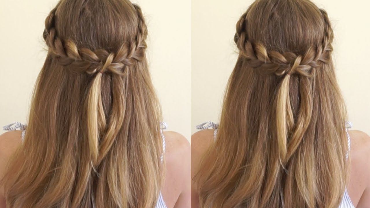 Half Up Crown Braid Quick Easy Hairstyle Youtube Half Up