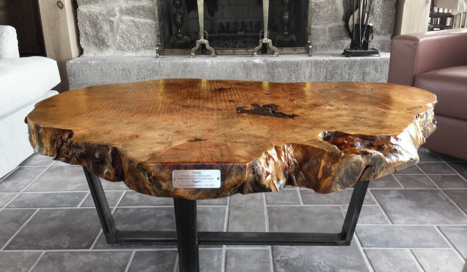 Reclaimed wood furniture and live edge tables made from fallen trees.
