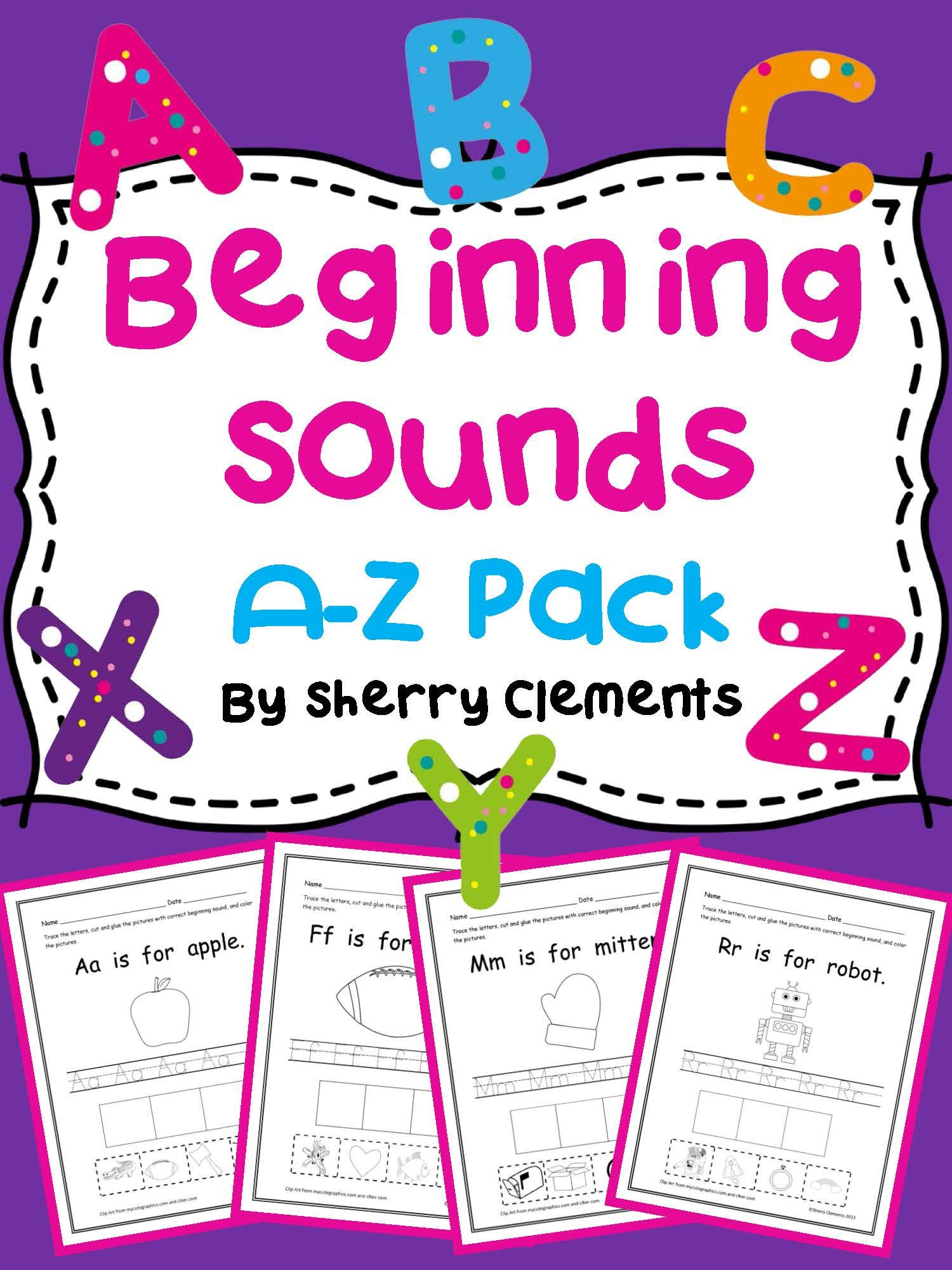 Beginning Sounds A Z Pack Sherry Clements