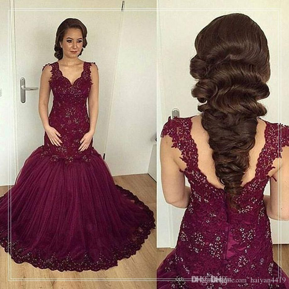 2017 New Cheap Prom Dresses Sweetheart Evening Dress Grape Lace ...