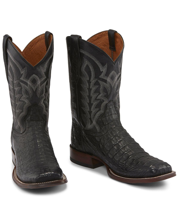 1cd4b0b3594 Tony Lama Men's Black Hornback Caiman Boots - Square Toe in 2019 ...