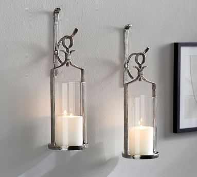 Artisanal Wall Mount Candleholder Silver Wall Mounted Candle Holders Candle Wall Sconces Candle Holder Wall Sconce