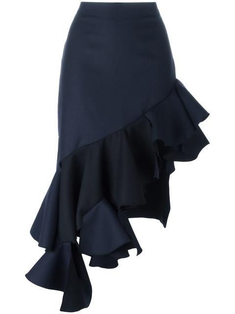 JACQUEMUS Asymmetric Ruffle Skirt. #jacquemus #cloth #skirt