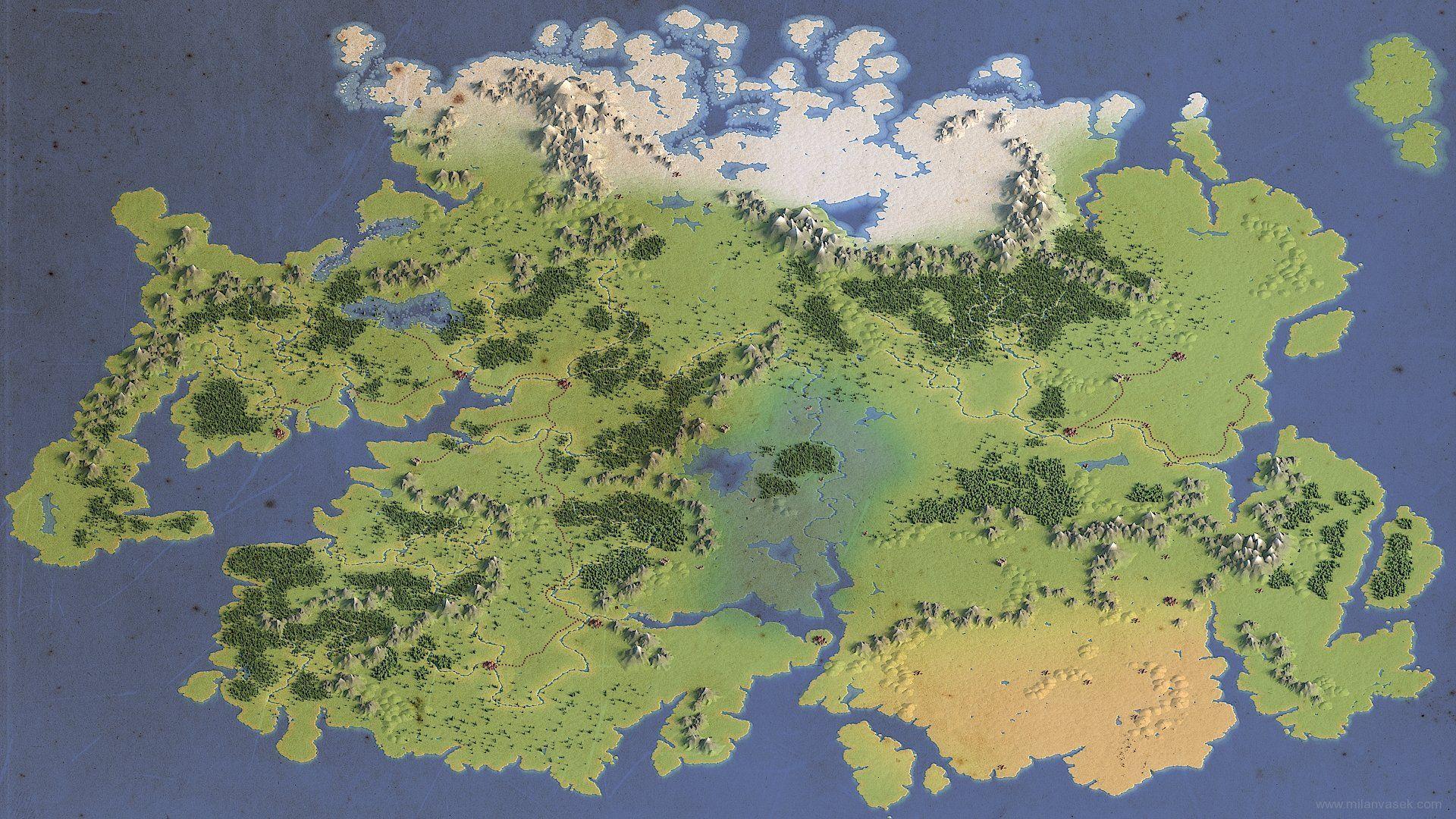 ArtStation - 3d fantasy map, Milan Vasek | Art in 2019