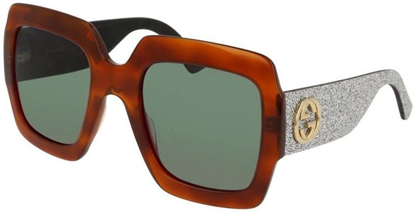 45742bf5b2b Amazon.com  Gucci GG 0102 S- 004 004 AVANA   GREEN   SILVER ...
