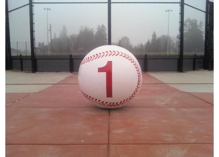 Precast concrete bollard, painted as a baseball.  Bollards are a great way to direct traffic flow, designate walkways and provide security as crashposts.  Themes can be incorporated to add design to your facility.  Customize with colors, textures, themes, and sealers.
