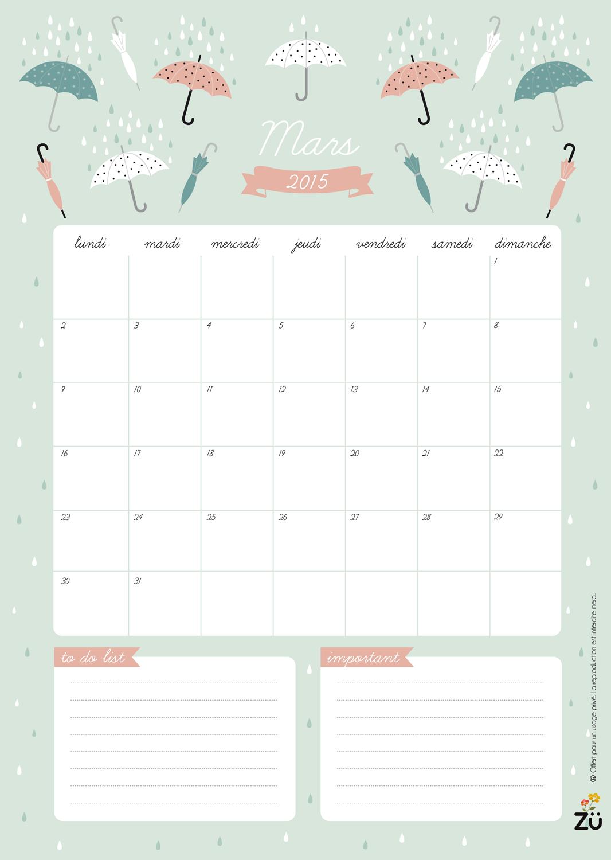 Calendar Zu : Calendrier diy mars calendar march free