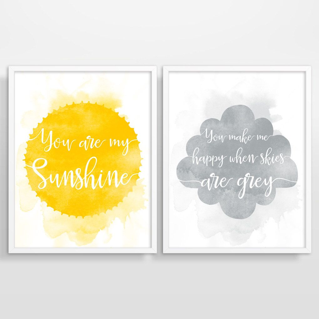 You Are My Sunshine Wall Art, Yellow Grey Nursery Decor, Nursery ...