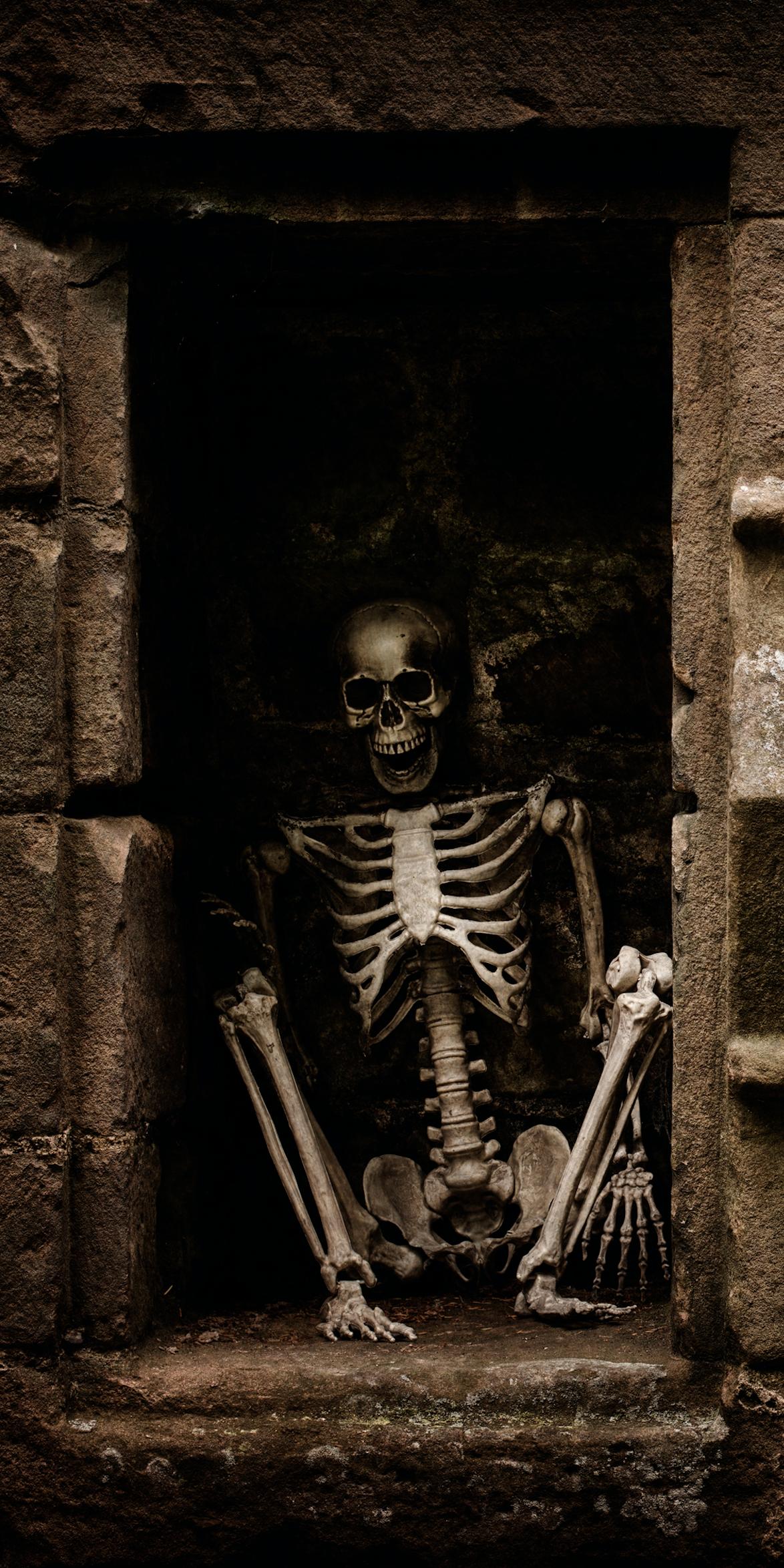 & Halloween Skeleton sitting door wrap