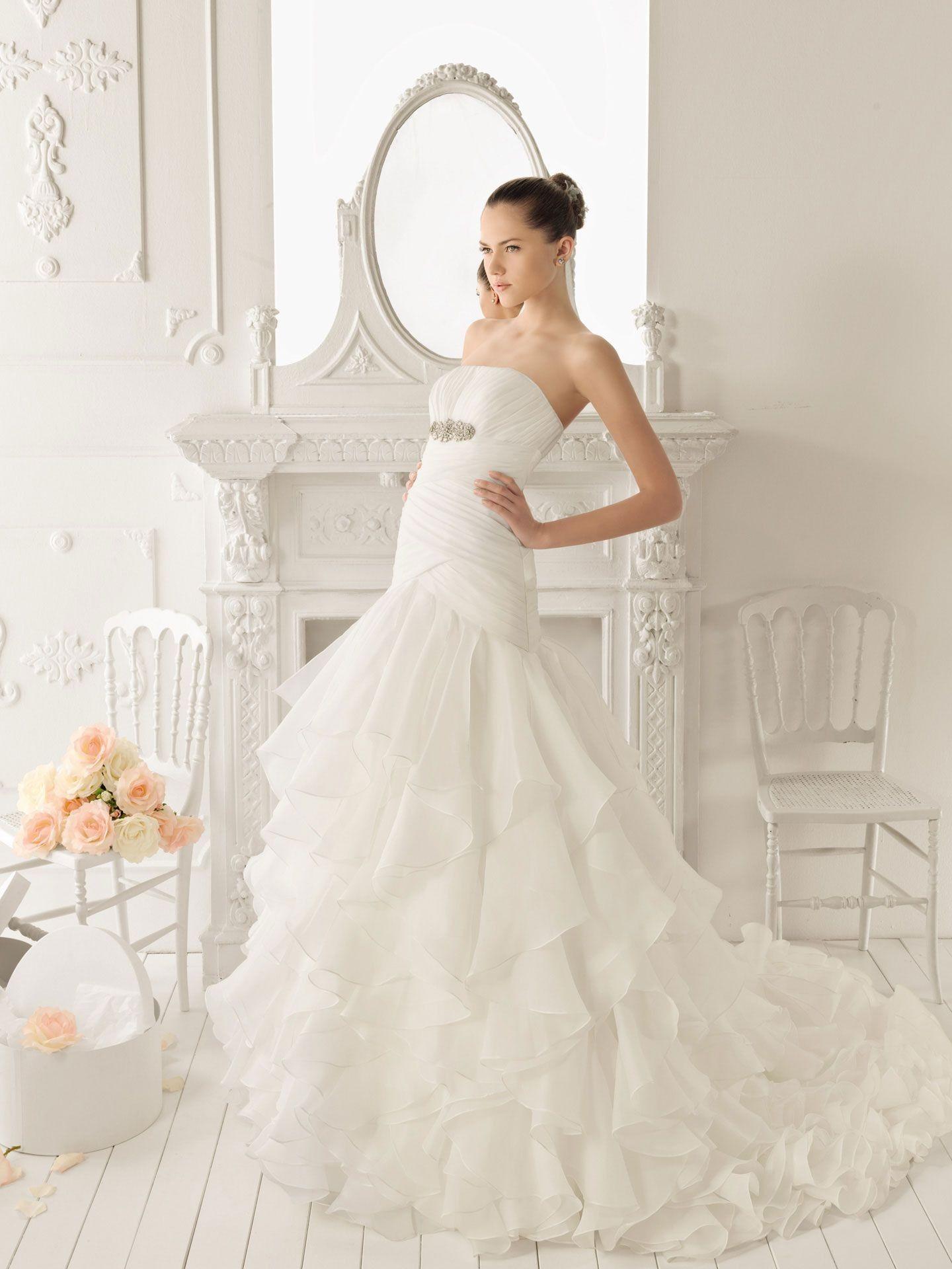 Fancy Organza Strapless A Line Style with Lavish Ruffle Skirt Wedding Dress Bupop