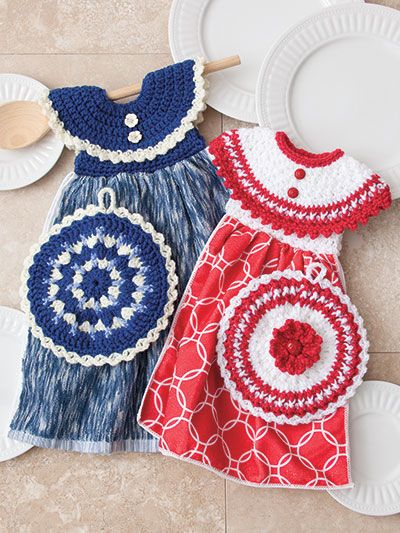 Crochet patterns for towels and potholders Stitch 2 adorable towel ...