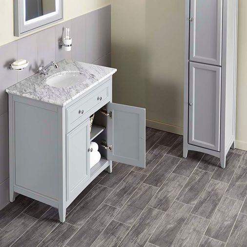 Savoy 790mm Marble Top Floorstanding Vanity Unit - Gun Metal Grey   bathstore