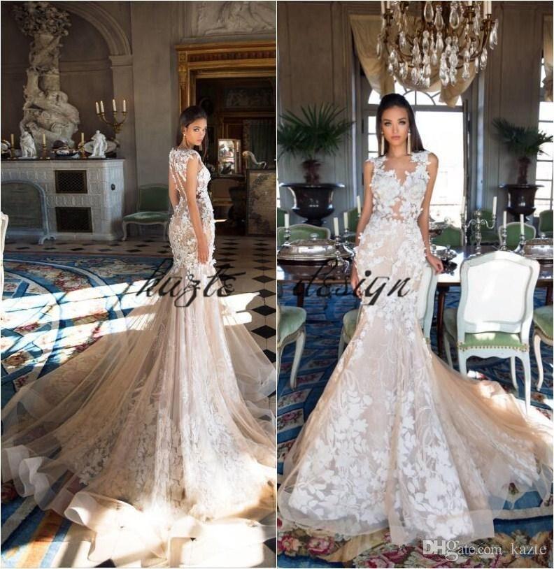 Sleeveless Lace Illusion Neckline A-line Wedding Dress