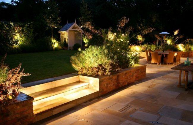 Gartenbeleuchtung Treppe Outdoor Lampen Indirekt Steinfliesen Sitzbereich Pflanzen Hinterhofbeleuchtung Hintergarten Gartenbeleuchtung