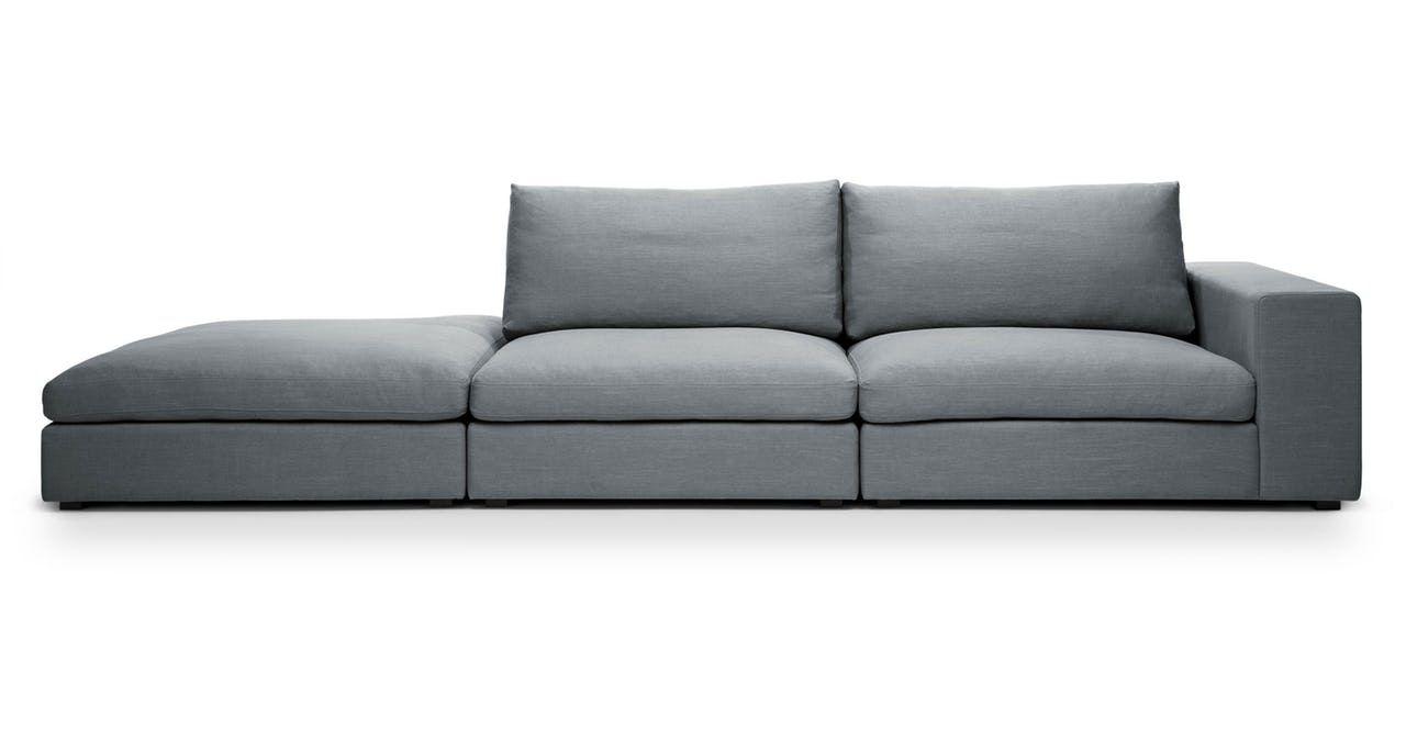 Cube Thunder Gray Modular Sofa Right Arm Mid Century Modern