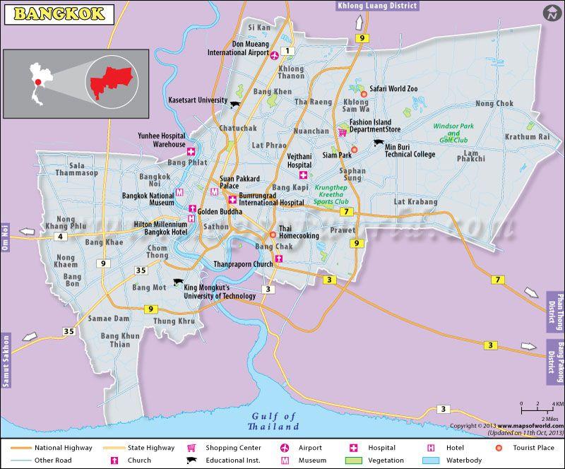 Bangkok city map depicts major roadstourist places rivers